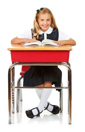 Student: Cheerful Schoolgirl Reading Book