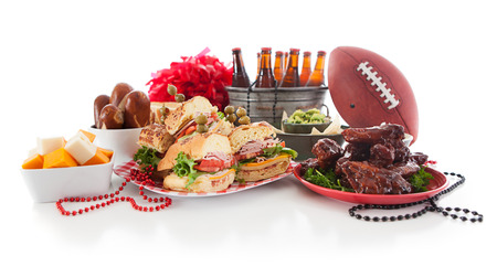 hero sandwich: Football: Low View Of Tailgate Party Food And Items