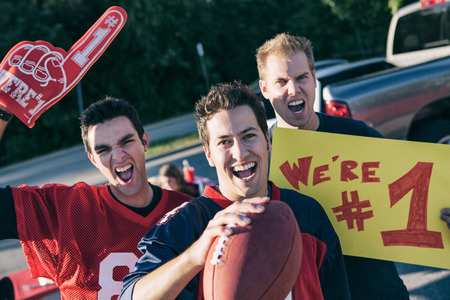 Tailgating: Male Football Fans Excited For Game