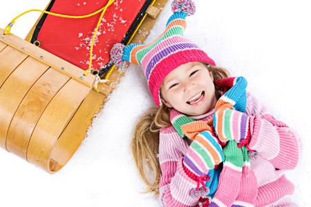 toboggan: Winter: Laughing Snow Girl With Toboggan