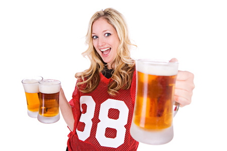 Football: Woman Holding Up Beer
