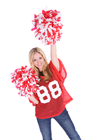 pom: Football: Woman Cheering For Her Team