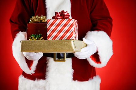 산타 : 크리스마스 선물의 전체 손 스톡 콘텐츠
