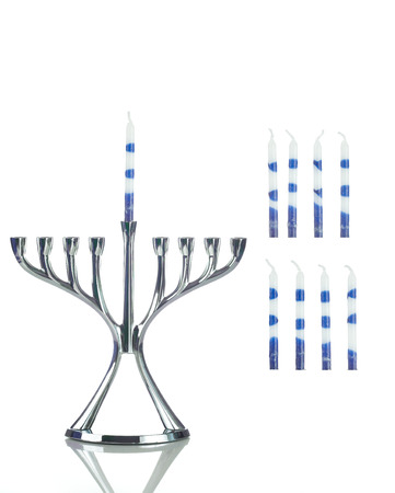 Hanukkah: Menorah with Separate Candles to Side