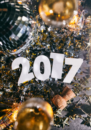 2017 New Years Eve Grunge Background With Champagne And Cork