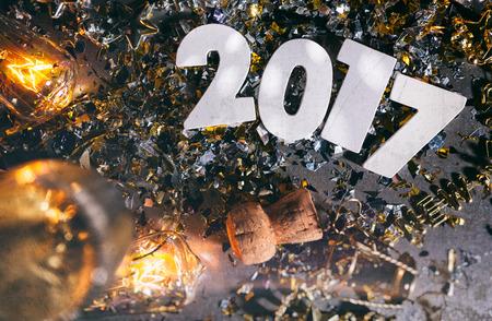 flauta: Fondo de la Noche Grunge 2017 del Año Nuevo Foto de archivo