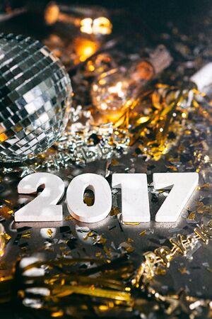 2017 Disco Ball New Years Eve Grunge Background Stock Photo