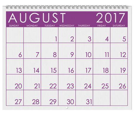 2017: Calendar: Month Of August In Summer