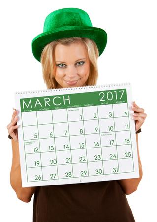 female leprechaun: 2017 Calendar: Girl Ready For March St. Patricks Day