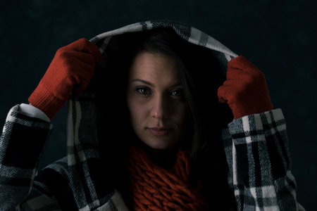 winter woman: Winter: Woman Pulls Hoodie Up