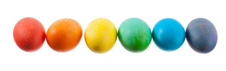Easter: Row Of Colorful Dyed Easter Eggs In A Rainbow