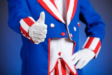 sam: Patriotic: Uncle Sam Gives Thumbs Up Stock Photo
