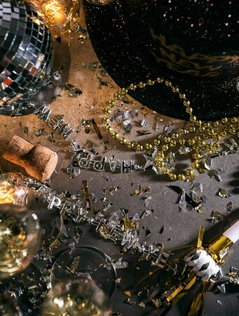 A series celebrating New Years Eve, some with 2018 numerals.  Lots of confetti, champagne, etc. Good for backgrounds of ads.