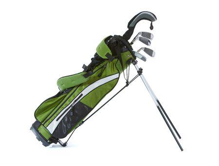 teen golf: Aislado en blanco bolsa de palos de golf de tamaño infantil.