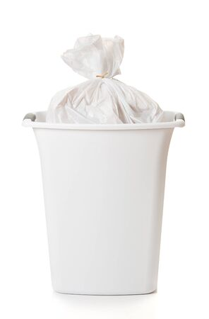 Garbage Can With Full Trash Bag