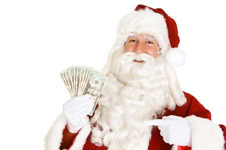 Series with a man in a Santa Claus outfit, in various poses with Christmas props.