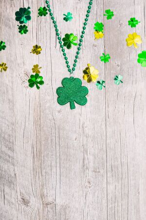 Series for St. Patricks Day with green beer, pot of gold, shamrocks and more. Stock Photo