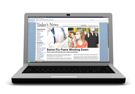 One of a series of 3d computer graphic renders.  A laptop with topical news on a generic website.