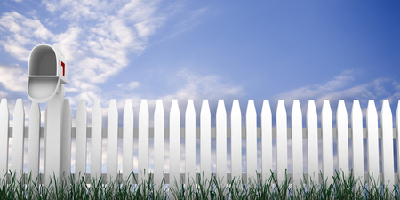 One of a series of 3d computer graphic renders.  Different concepts with a picket fence. Stock Photo
