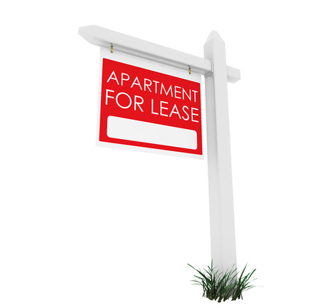One of a series of 3d computer graphic renders.  A series on white with a real estate sign.