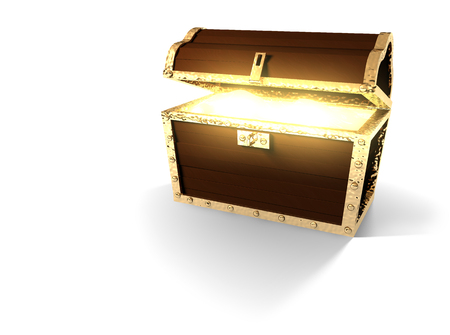 Pirate treasure chest from various angles isolated on white. Stok Fotoğraf - 102167636