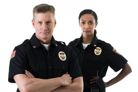Umfangreiche Serie von zwei Polizisten auf Weiß, mit diversen Requisiten. Dazu gehören auch ein Kind und ein Einbrecher.