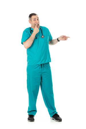 Humorous male doctor in scrubs in a variety of poses on a white isolated background.  Unsure physician gesturing to side.