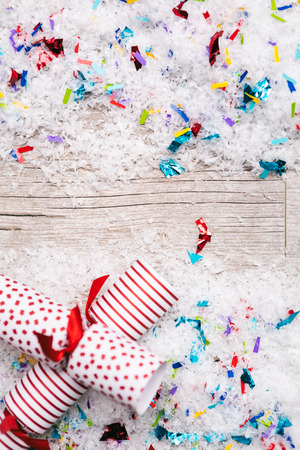 Image from extensive series of useful holidayChristmas backgrounds, with snow, gifts and candy canes.