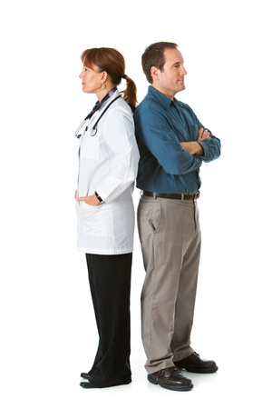 Isolated on white series featuring a Caucasian female doctor and a male patient in a variety of poses with props.
