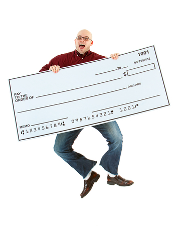 Isolated on white background series of a Caucasian man with an oversized bank check. 写真素材