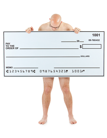 Isolated on white background series of a Caucasian man with an oversized bank check. Imagens