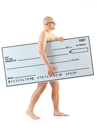 Isolated on white background series of a Caucasian man with an oversized bank check. Stock Photo
