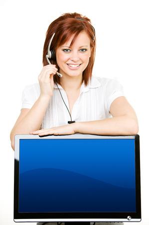 Pretty female as customer service representative. Stock Photo