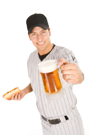 Isolated on white series of two men in baseball uniforms, in various poses with props.