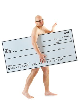 Isolated on white background series of a Caucasian man with an oversized bank check. Archivio Fotografico