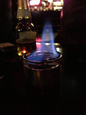 Flaming shot at pub