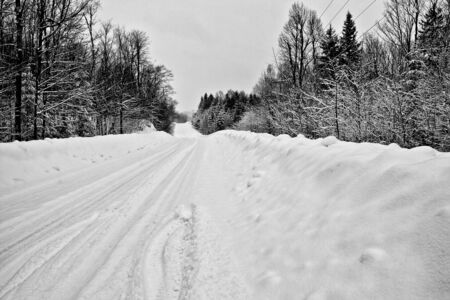 Rural road after a snowstorm.