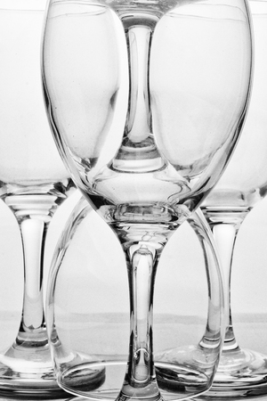 symetry: Abstract of a group of wine glasses. Stock Photo