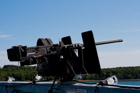 calibre: 50 caliber machine gun on a naval ship. Stock Photo