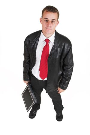 fedup: Business man in a suit with a notebook computer - Top view