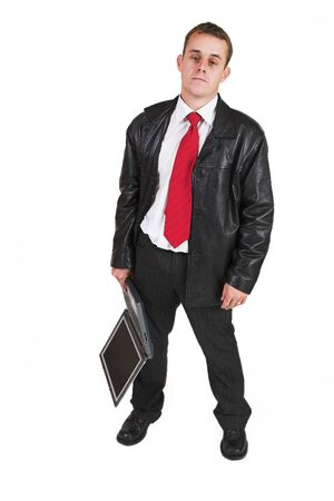 fedup: Business man in a suit with a notebook computer