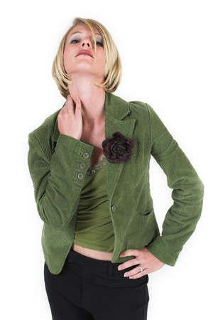 corduroy: Donna in verde Cord Suit