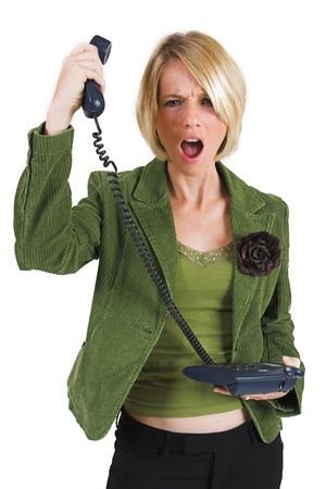 Upset business woman in green suite with phone photo