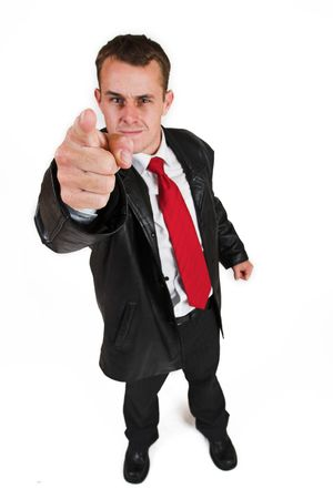 Business man in a suit with a red tie - Pointing his finger (hand in focus, face out of focus) Stock Photo - 208882