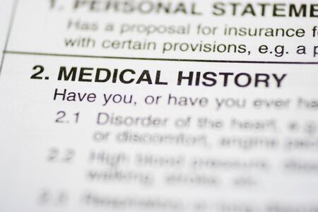 medical history: Insurance form about medical history Stock Photo