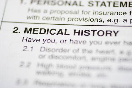 questionaire: Seguros formulario sobre su historial m�dico