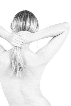 female torso holding her hair Stock Photo