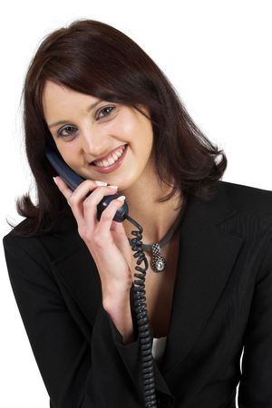 Business woman with blue telephone Stock Photo