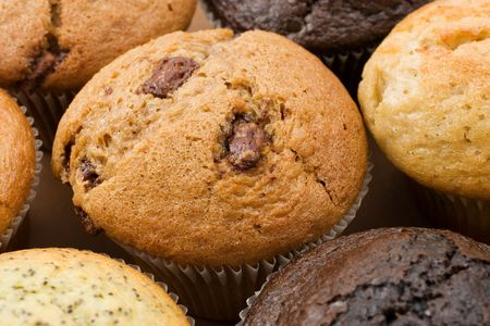 A Plate of muffins - Caramel muffin in focus Stock Photo
