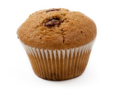 A single Caramel Chip muffin on a white background - Perfect shape